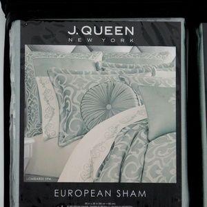 J. Queen Bedding - J. Queen Lombardi Spa Green Reversible Euro Sham